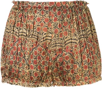 KHAITE Hilary paisley-print pleated shorts