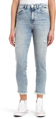 Mavi Jeans Star High Waist Distressed Fray Hem Straight Leg Jeans