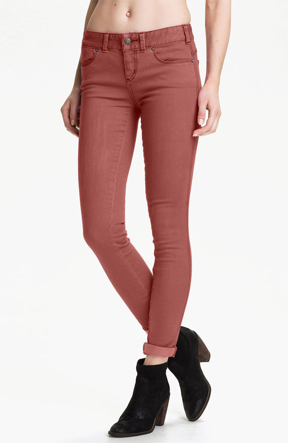 Free People Colored Stretch Denim Skinny Jeans (Maroon)