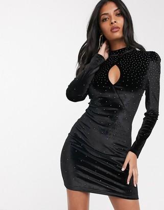 Fashion Union velvet high neck mini dress with scattered diamante detail-Black
