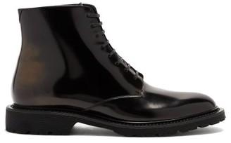 Saint Laurent Cesna Lace-up Patent-leather Boots - Black