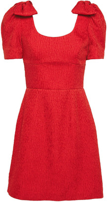 Rebecca Vallance Bow-embellished Cloque Mini Dress