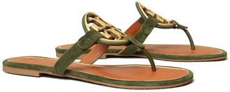 Tory Burch Miller Metal-Logo Sandal, Suede