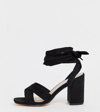 Park Lane wide fit tie leg block heeled sandals-Black