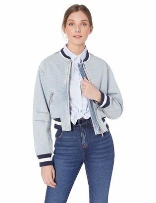 Skinnygirl Women's Denim Varcity Style Bomber Jacket