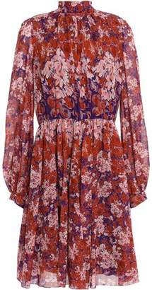 Giambattista Valli Tie-neck Floral-print Silk-georgette Dress