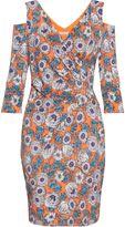 Gina Bacconi Mixed Flower Print Jersey Dress