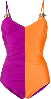 Fausto Puglisi Colour Block Embellished Swimsuit