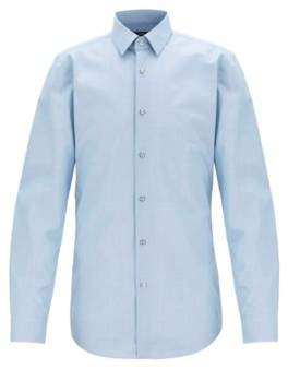 BOSS Slim-fit shirt in micro-pepita cotton with dobby pattern