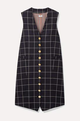 Thom Browne Grosgrain-trimmed Checked Wool-twill Mini Dress - Navy