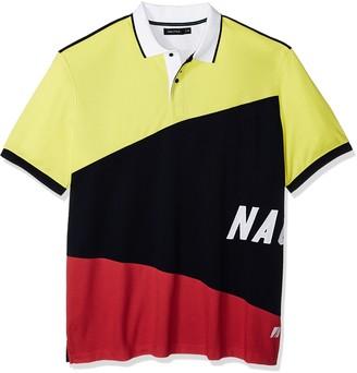 Nautica Men's Big Short Sleeve Slim Fit Fashion Print Polo Shirt