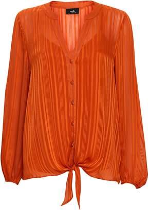 Wallis Orange Satin Stripe Tie Front Blouse