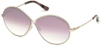 Tom Ford Round Metal 64mm Polarized Sunglasses