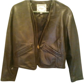 Chevignon Black Leather Leather Jacket for Women Vintage