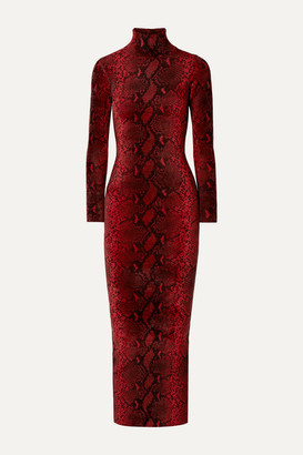 Alexander Wang Snake-print Chenille Turtleneck Midi Dress - Red
