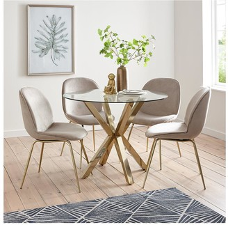 Chopstick 100 cm Round Brass Dining Table + 4 Penny Velvet Chairs - Brass/Taupe