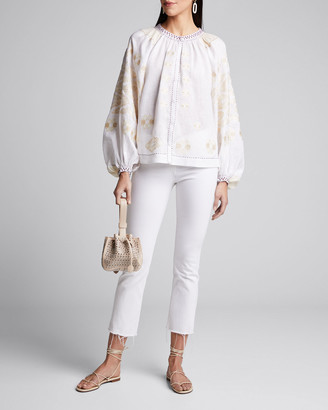 Vita Kin Floral-Embroidered Linen Peasant Blouse