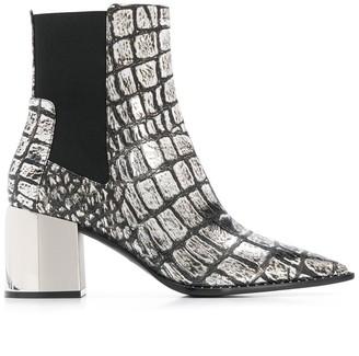 Casadei Crocodile Print Mid-Calf Boots