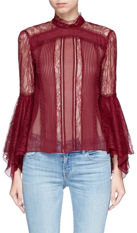 Alice + Olivia 'Ivy' handkerchief cuff guipure lace panelled crépon top