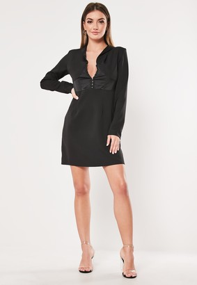 Missguided Black Hook And Eye A Line Blazer Dress