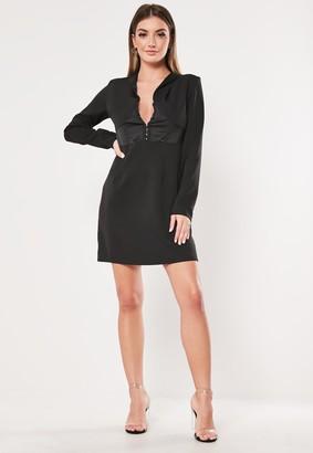 Missguided Black Hook And Eye A Line Blazer Dress