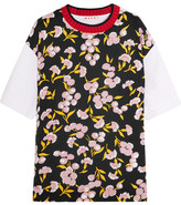 Marni Wool-trimmed Floral-print Silk And Cotton-jersey T-shirt - Black