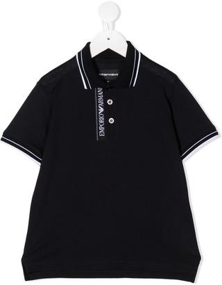 Emporio Armani Kids Striped Trim Polo Shirt