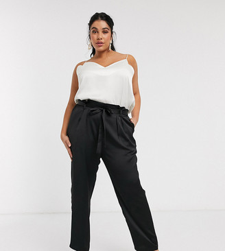 Outrageous Fortune Plus high waist cigarette pant with belt in black