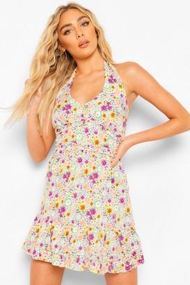 boohoo Floral Print Halterneck Skater Dress