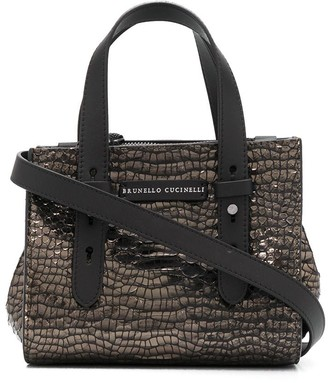 Brunello Cucinelli Crocodile-Embossed Tote Bag