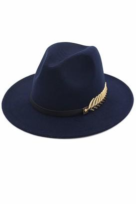 Suvimuga Women Fedora Hat Classic Jazz Wide Brim Belt Trilby Felt Cap Navy One One Size