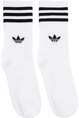 adidas Three-Pack White and Black Striped Socks