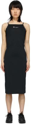 Champion Reverse Weave Black Strappy Script Logo Midi Dress
