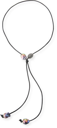 Margo Morrison Baroque Pearl Leather Lariat Necklace