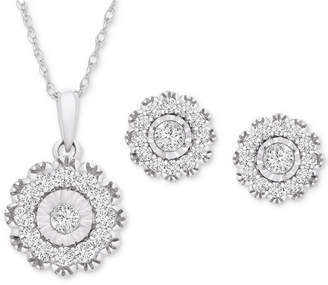 Wrapped in Love 2-Pc. Set Diamond Pendant Necklace & Matching Stud Earrings (1 ct. t.w.) in 14k White Gold
