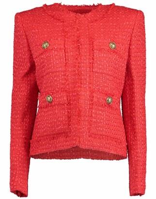 Balmain Collarless Four Pocket Tweed Jacket