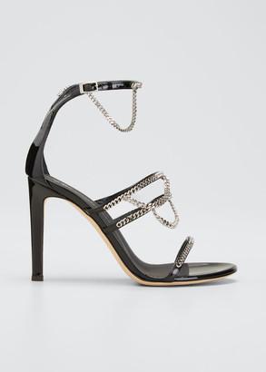 Giuseppe Zanotti 105mm Chain-Trim Tri-Band Stiletto Sandals