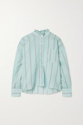 Etoile Isabel Marant Olena Oversized Ruffled Striped Cotton-blend Voile Shirt - Sky blue