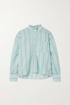 Etoile Isabel Marant Olena Oversized Ruffled Striped Cotton-blend Voile Shirt - Sky blue