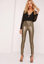 Missguided Superstretch High Rise Zipped Skinny Jeans Metallic