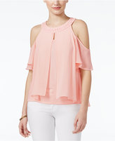 Amy Byer Juniors' Off-The-Shoulder Mixed-Media Top
