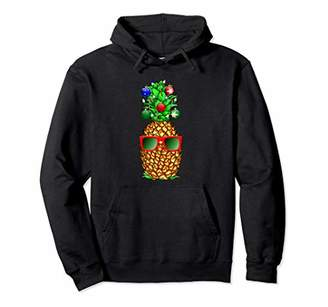 Tropical Colorful Funny Xmas Pineapple Pullover Hoodie