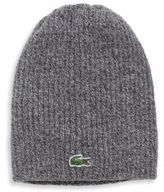 Lacoste Ribbed Wool Knit Beanie