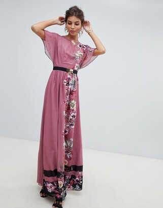 Little Mistress floral placement stripe border maxi dress