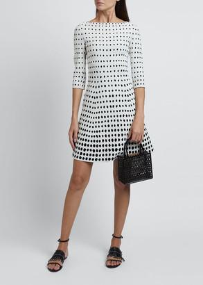 Alaia Polka-Dot 3/4-Sleeve Dress