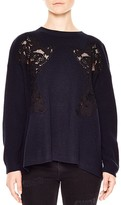 Sandro Ivy Lace-Inset Sweater