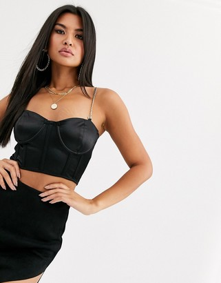 Public Desire structured cami crop top with chain straps in satin-Black