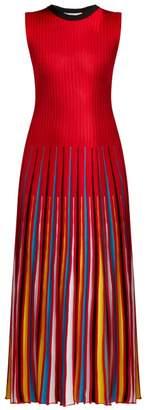 MSGM Knit Midi Dress - Womens - Red Multi
