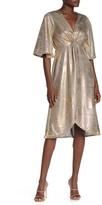 Eliza J Superfoxx Wrap Front Metallic Jersey Dress