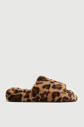 Ardene Leopard Faux Fur Slide Slippers